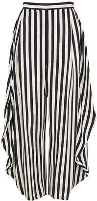 Stella McCartney Alicia monochrome striped silk trousers
