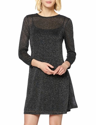 Dorothy Perkins Women's Silver Lurex Mesh Fit and Flare Dress 8
