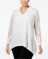 NY Collection Plus Size Lace-Inset Blouse