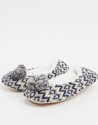 totes fairisle ballet slippers in multi