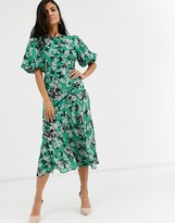 Asos DESIGN ruched maxi dress with puff sleeve in floral print