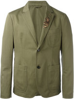 Roberto Cavalli embroidered military blazer - men - Cotton/Linen/Flax/Polyester/cotton - 48