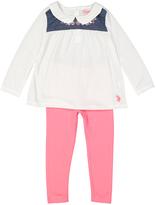 U.S. Polo Assn. White Chambray-Yoke Top & Leggings - Infant & Toddler