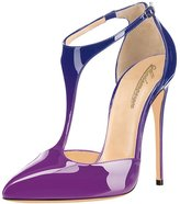 Modemoven Women's Pointed Toe Stilettos,T-Strap High Heels,Patent Leather Dorsay Pumps,Sexy Evening Shoes Purple
