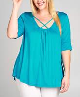 Tua Turquoise Crisscross Cutout Top - Plus