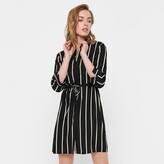 Thumbnail for your product : Only Knee-Length Shirt Dress in Striped Print with Tie-Waist