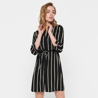 Only Knee-Length Shirt Dress in Striped Print with Tie-Waist