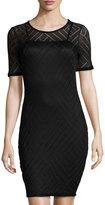 Three Dots Angelina Mesh-Overlay Sheath Dress, Black