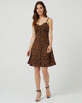Le Château Leopard Print Button-Front Bustier Dress