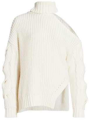 Jonathan Simkhai Aubrey One-Shoulder Traveling Wool-Blend Cable Knit Sweater