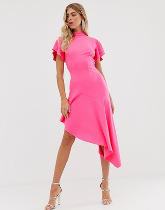 ASOS DESIGN high neck midi dress with open back and pep hem