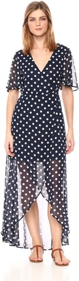 Show Me Your Mumu Women's Marianne WRAP Maxi Dress with Short Sleeves and Polka DOTS