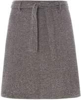 Dorothy Perkins Grey Tie Waisted A-Line Mini Skirt