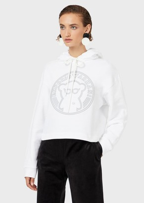 Emporio Armani Hooded Sweatshirt With Oversized, Raised Manga Bear Embroidery