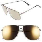 Tom Ford Men's 60Mm Aviator Sunglasses - Matte Gunmetal/ Black Smoke