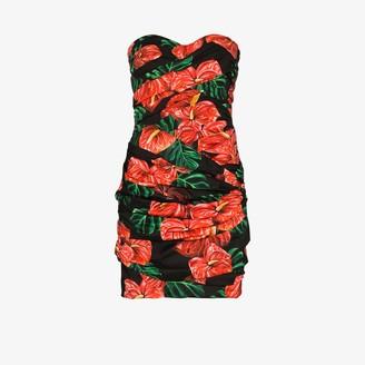 Dolce & Gabbana Laceleaf print draped mini dress
