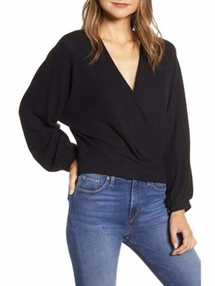 1 STATE Womens Black Long Sleeve V Neck Top Size: L
