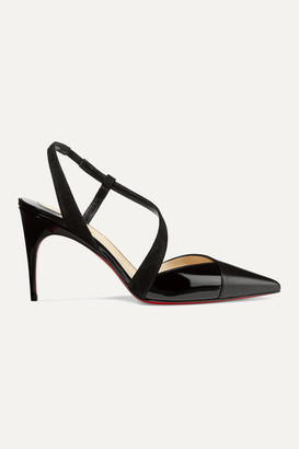 Christian Louboutin Platina 85 Suede-trimmed Patent And Smooth Leather Slingback Pumps - Black