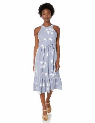 Jessica Howard JessicaHoward Women's Petite Embroidered Gingham Halter Neck Dress