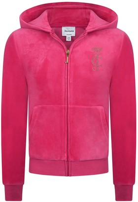 Juicy Couture Girls Luxe Velour Diamante Zip Through Hoodie - Pink