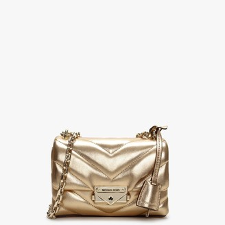 Michael Kors Cece Quilted Pale Gold Leather Cross-Body Bag