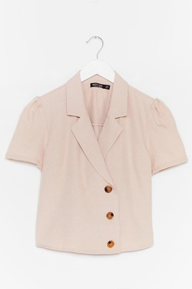 Nasty Gal Womens No If's or Buttons Puff Sleeve Cropped Blouse - Stone