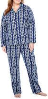 Liz Claiborne Notch Collar Flannel Pant Pajama Set
