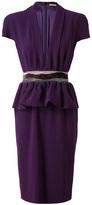 Crepe dress with peplum waist