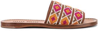 Miu Miu Jewel Flat Sandals in Fuxia & Papaya | FWRD