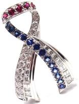 Harry Winston Platinum Diamond Sapphire Ruby American Ribbon Brooch