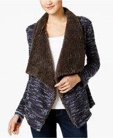 Vintage America Faux-Fur-Trim Draped Jacket