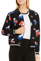 Vince Camuto Petite Travelling Bloom Zip-Front Bomber Jacket
