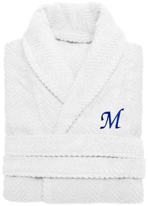 Linum Home Textiles Herringbone Weave White Bathrobe, Large/XLarge, Midnight Blue Letters,