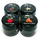 4pc Beauty Treats Lip Scrub with Almond Creme Wild Apple Vanilla Bean Dark Cherry All 4 Full Set