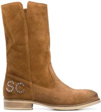 Semi-Couture Rhinestone Logo Ankle Boots