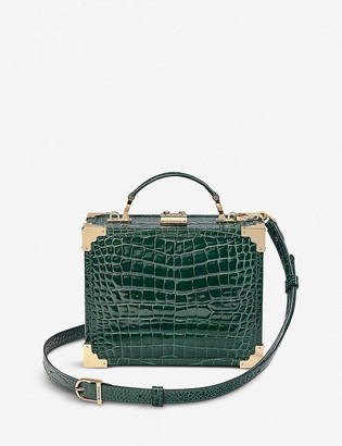 Aspinal of London Mini Trunk crocodile-embossed leather clutch bag