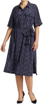 Lafayette 148 New York, Plus Size Mini Doodle-Print Short-Sleeve Doha Silk Shirtdress