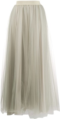 Fabiana Filippi Gathered-Tulle Maxi Skirt