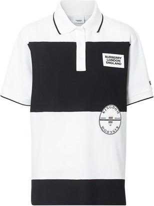Burberry Logo Applique Striped Oversized Polo Shirt