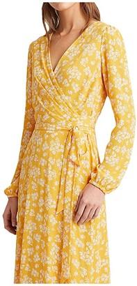 Lauren Ralph Lauren Franny Westbury Floral Dress (True Marigold/Colonial Cream) Women's Dress