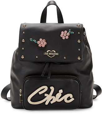 Love Moschino Chic Embellished Faux Leather Backpack