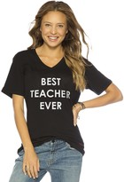 Peace Love World Best Teacher Ever V-Neck Tee