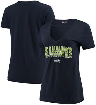 New Era Women's Navy Seattle Seahawks Gradient Glitter Choker V-Neck T-Shirt