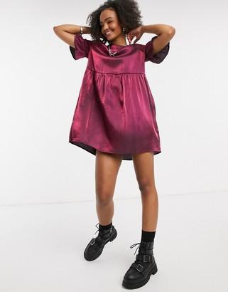 Lola May smock dress in burgundy shimmer
