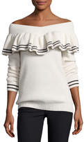 Self-Portrait Striped Off-the-Shoulder Rib-Knit Sweater