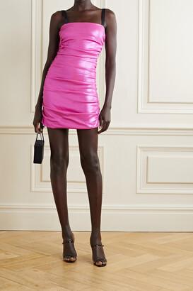 Dolce & Gabbana - Ruched Metallic Jersey Mini Dress - Pink