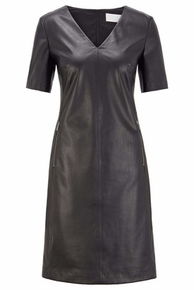HUGO BOSS Womens C Dalegy Shift Dress in Stretch Faux Leather with Zip Detailing Black