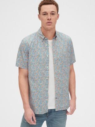 Gap Stretch Poplin Short Sleeve Shirt