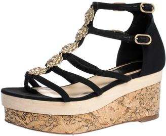 Chanel Black Canvas Fabric Flower Embellished Strappy Cork Platform Sandals Size 36.5