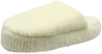 Woolsies Women's Waffle Natural Wool Mule Open Back Slippers